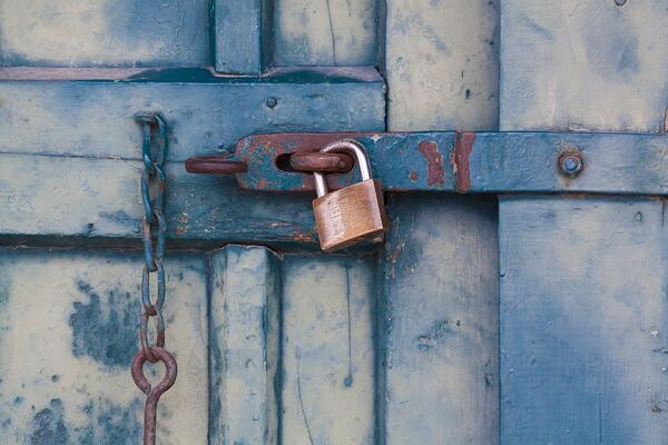 Padlocked door (How law firms can stay secure when remote working blog)